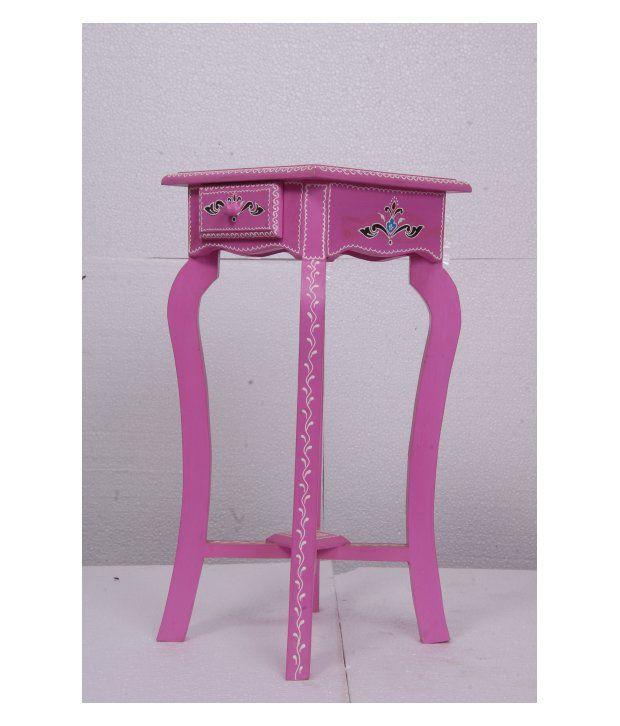 Kings Kraft Pink Painted Wooden Pedestal