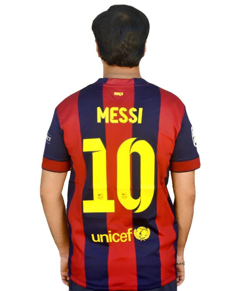 the best attitude 5a8e8 92f79 Nike Blue Polyester Original Messi 10 Barcelona Jersey - Buy ...