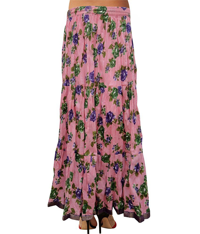 0887f16c75 ... Sttoffa Casual Wear Cotton Long Skirt Lace Work Indian Printed Floral  Skirt ...