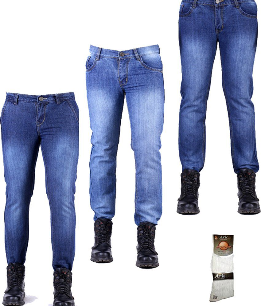 Haltung Faded Multicolor Cotton Men's Slim Fit  Jeans Combo Of 3 With Free 1 Pair Of Assorted Socks