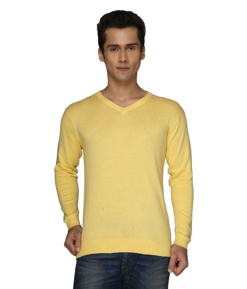 Pepper Yellow Cotton V-neck Full T-shirt