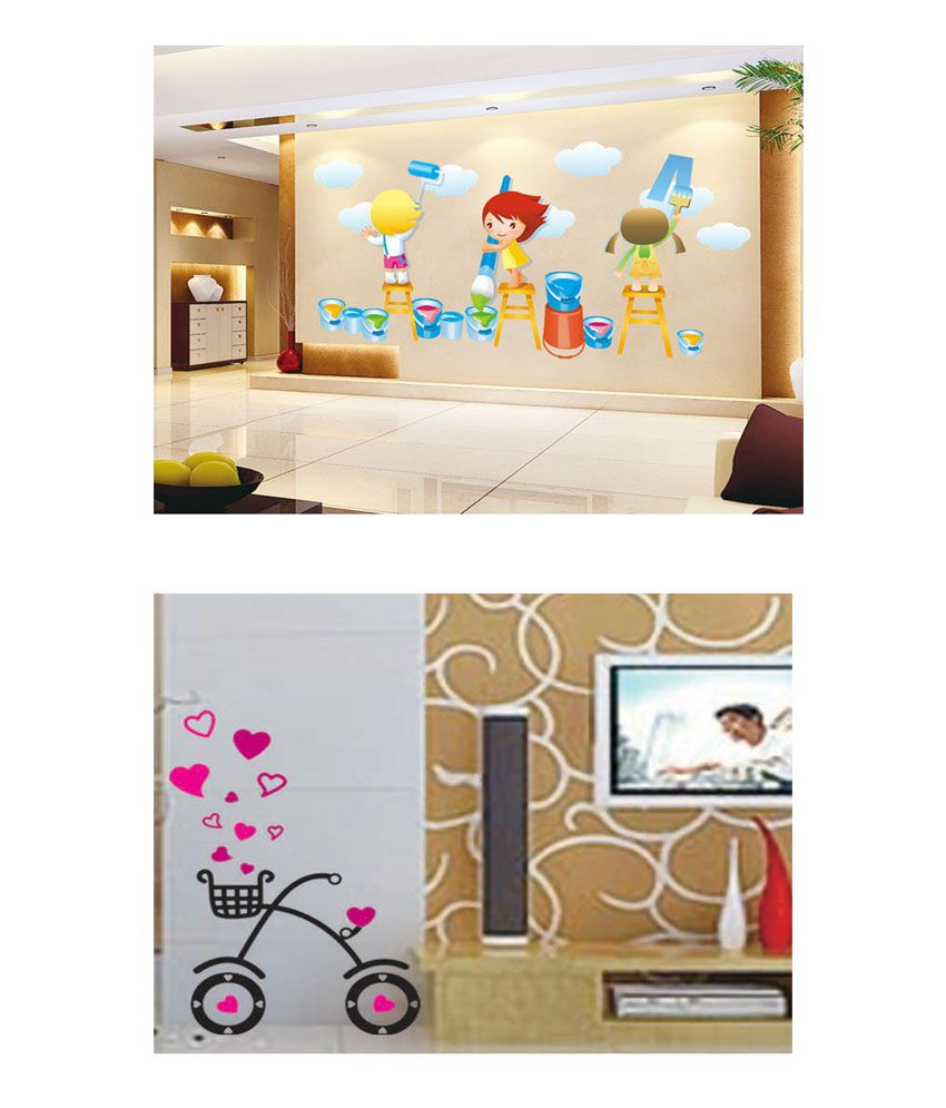 PINDIA Multicolour Painting Kids & Heart Cycle Design Wall Sticker - Buy 1 Get 1