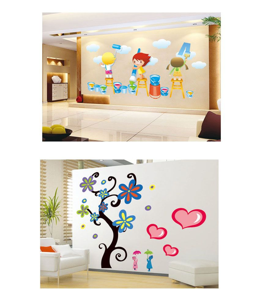 PINDIA Multicolour Painting Kids & Hearts & Tree Design Wall Sticker - Buy 1 Get 1