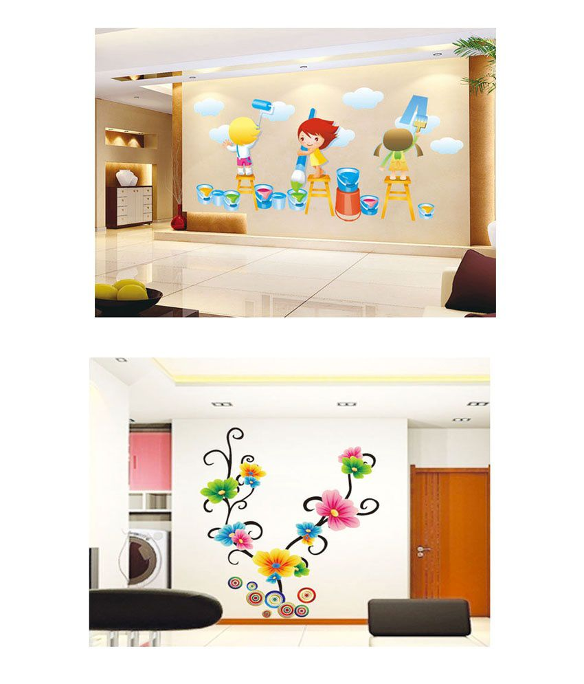PINDIA Multicolour Painting Kids & Multicolor Flowers Design Wall Sticker - Buy 1 Get 1
