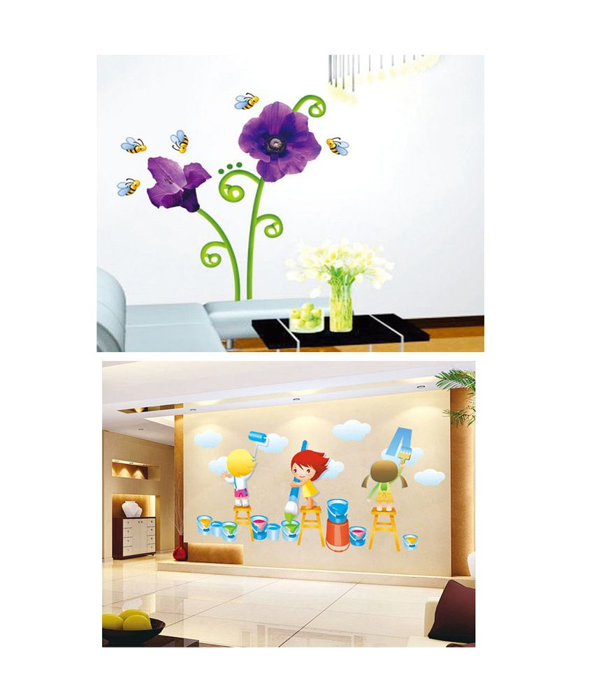 PINDIA Multicolour Purple Flower & Bees & Painting Kids Design Wall Sticker - Buy 1 Get 1