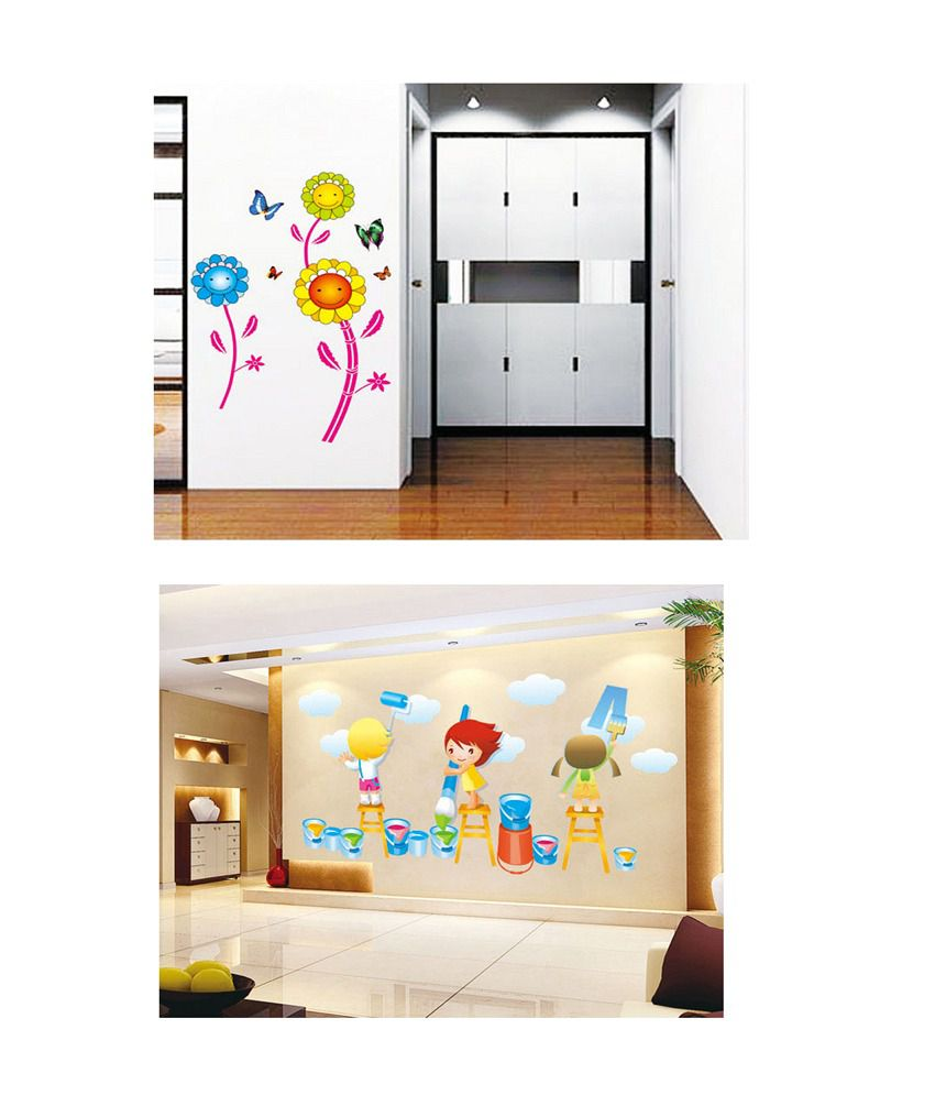 PINDIA Multicolour Three Smiling Sun Flower & Painting Kids Design Wall Sticker - Buy 1 Get 1