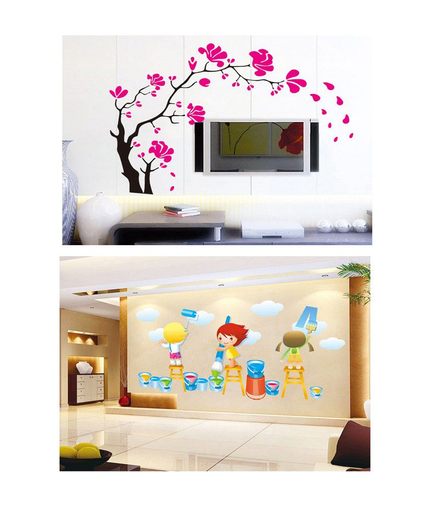 PINDIA Multicolour Tree Branches & Painting Kids Design Wall Sticker - Buy 1 Get 1