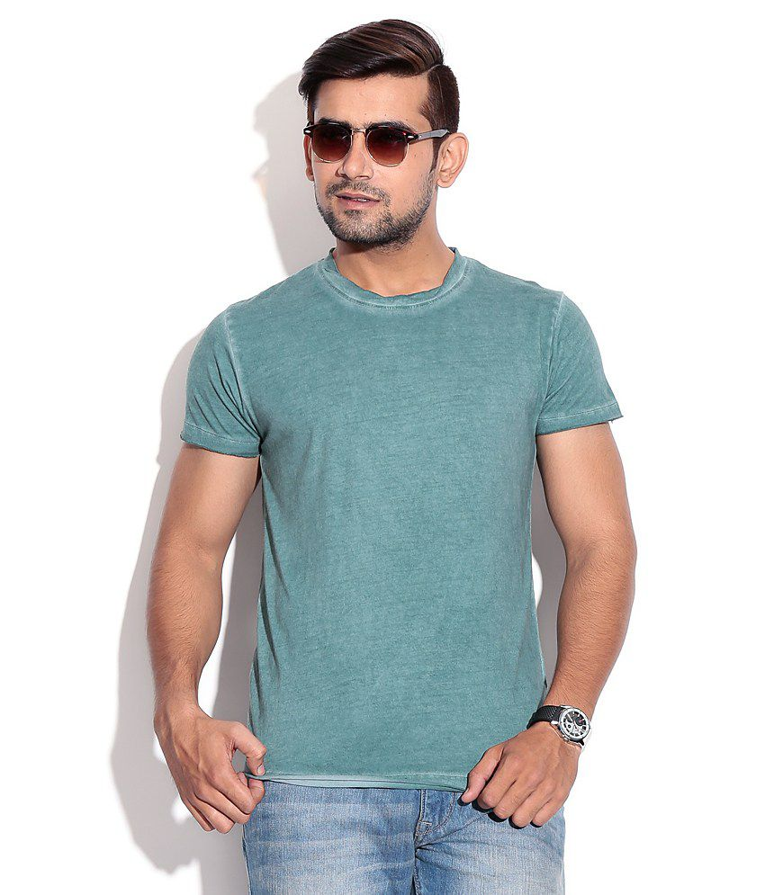 Jack & Jones Green Half Cotton Round  T-Shirt