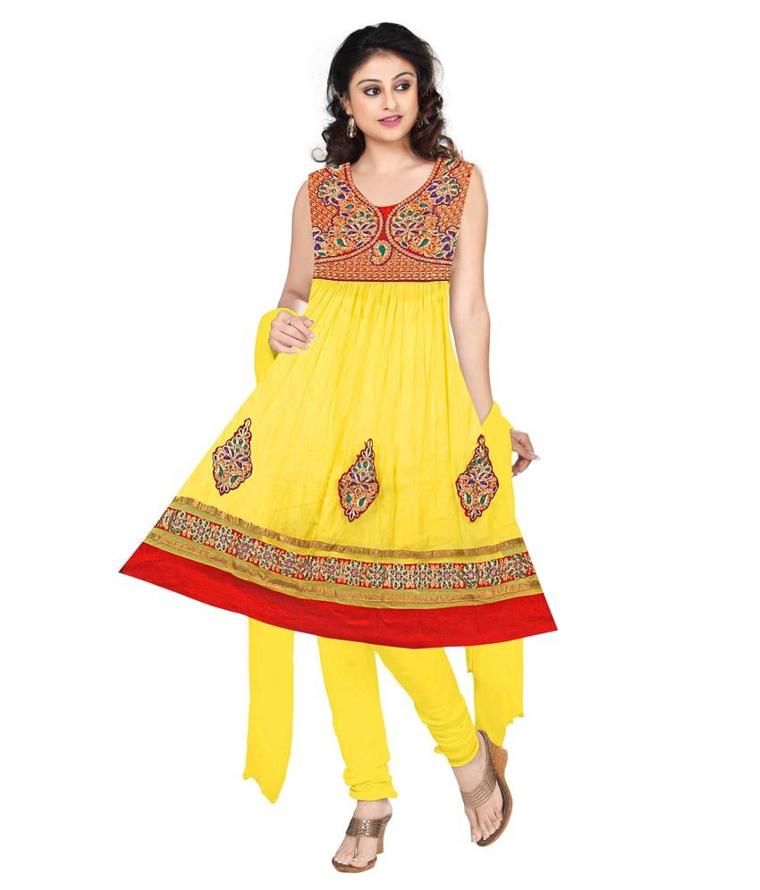 Prittygirl Yellow Embroidered Net Stitched Anarkali Salwar Suit