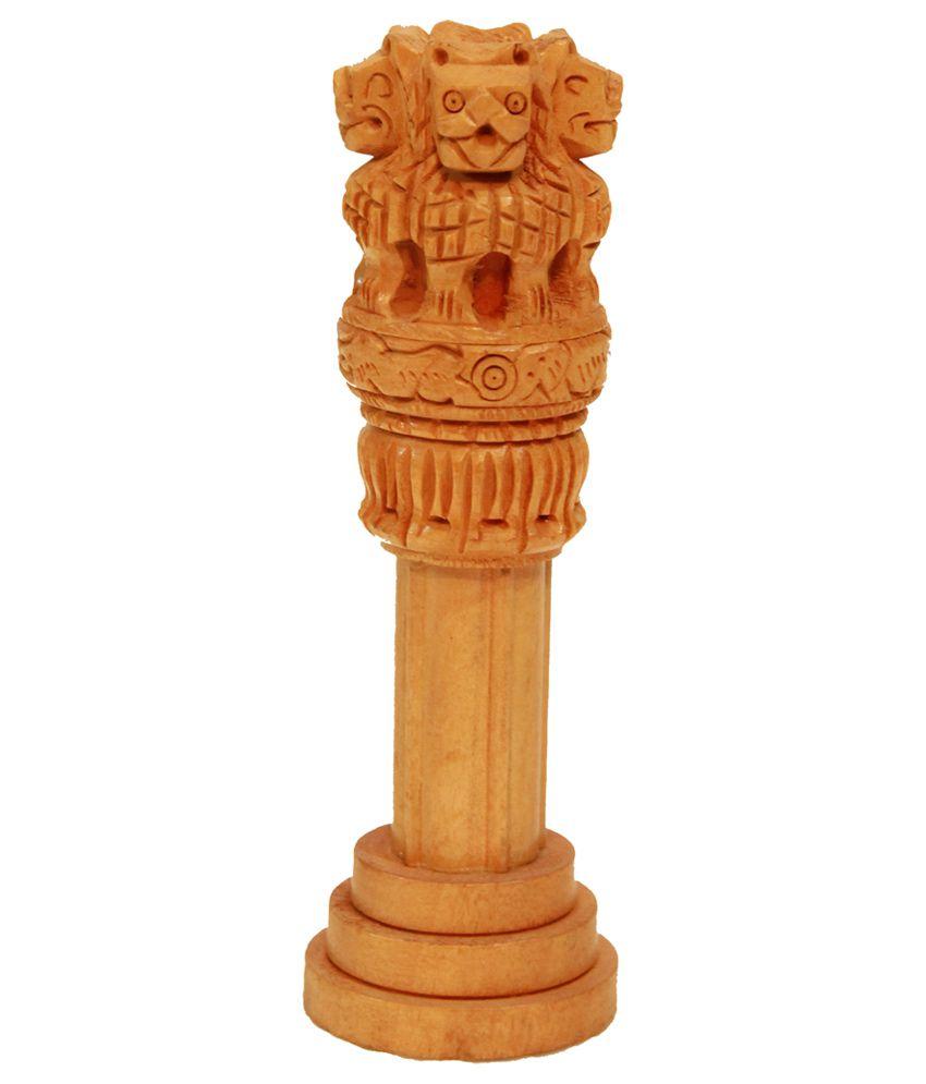Crafts Gallery Wooden Ashoka Pillar Handmade Indian Emblem For Home Decor 3 Inch Buy Crafts