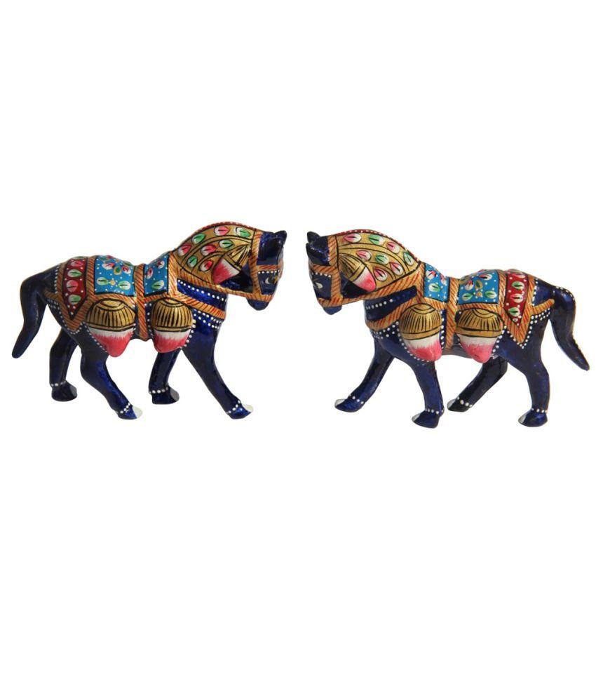 Handicrafts Paradise Metal Enamelled Pair Of Horse