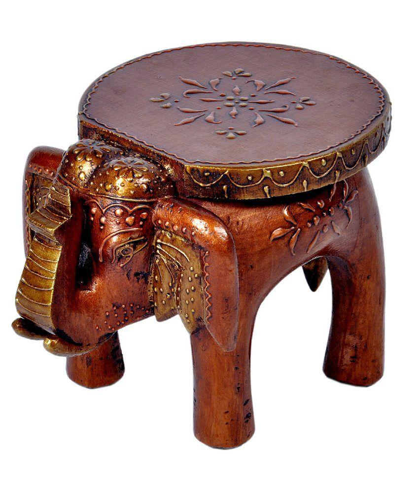 Jaipurraga Adorable Rajasthani Designer Handicraft Durable Wooden Elephant Stool