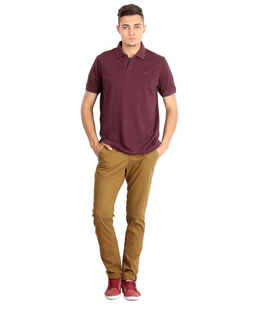 Proline Colours Maroon Polo T-shirt