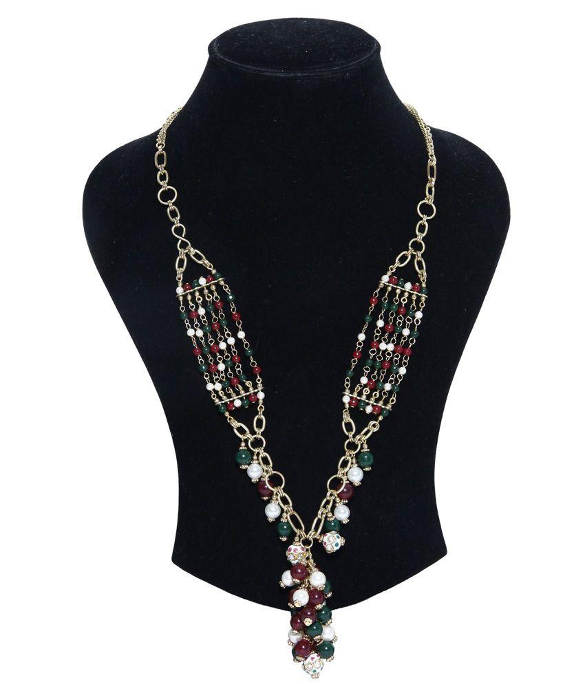 zurii ethnic gold multi beaded necklace buy zurii ethnic