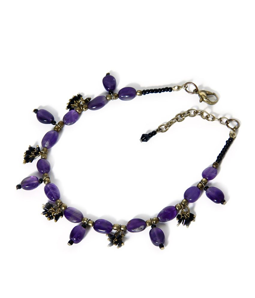 Zurii Purple Bead & Bras Shine Anklet