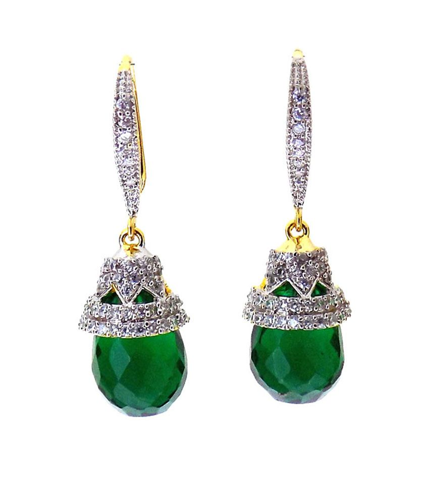 Aabhushan Jewels Emerald Look American Diamond Gold Plated Earrings For Women