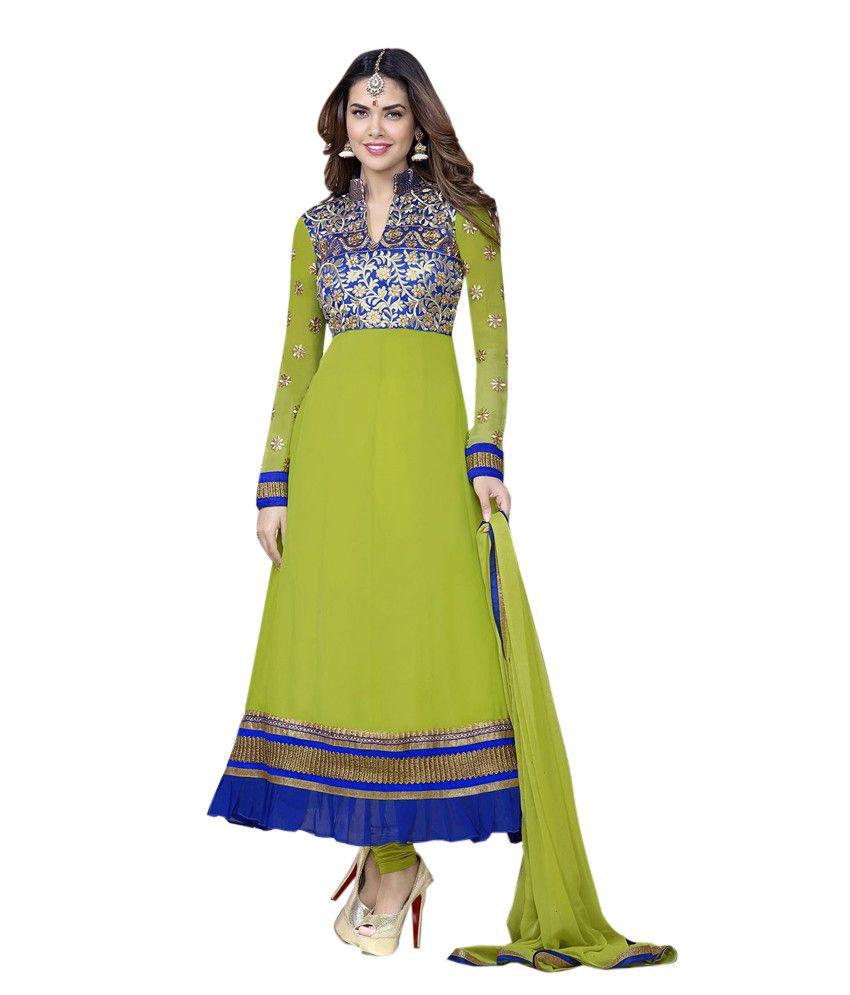 Aavaran Wedding Wear Designer Semi-Stitched Georgette Anarkali Dress Material - Dhani -blue