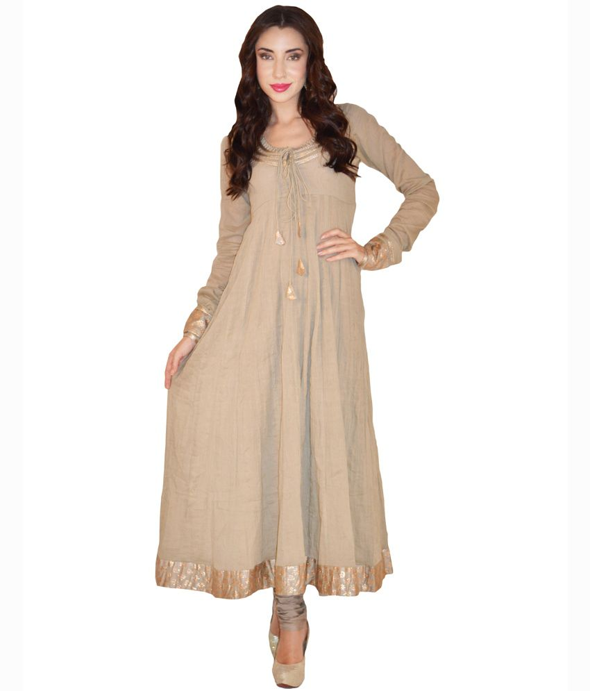 Magnetic Designs Beige Plain Cotton Anarkali Salwar Suit