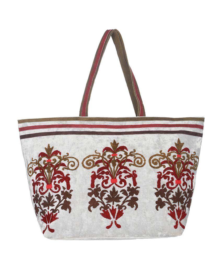 Rajrang Gray Cotton Embroidered Shoulder Bag