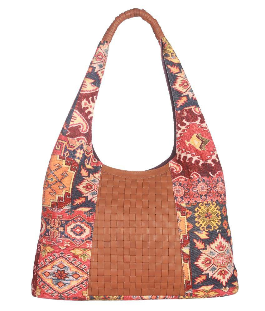 Rajrang Pink Cotton Printed Shoulder Bag