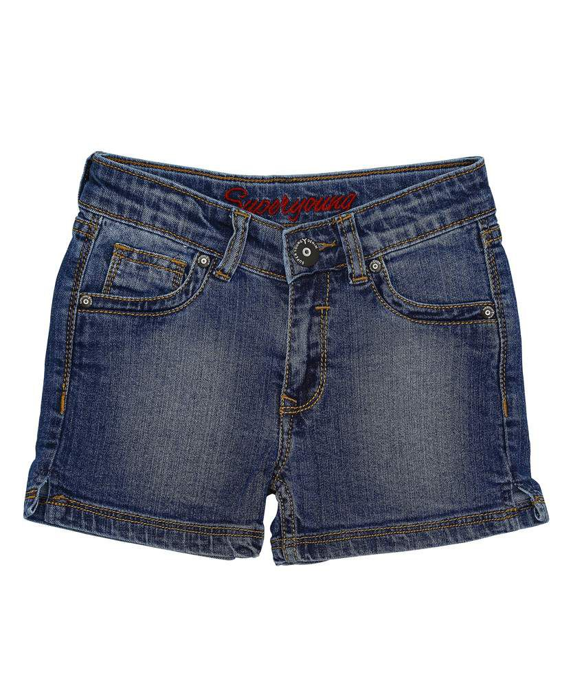 Superyoung Navy Denim Shorts For Girls