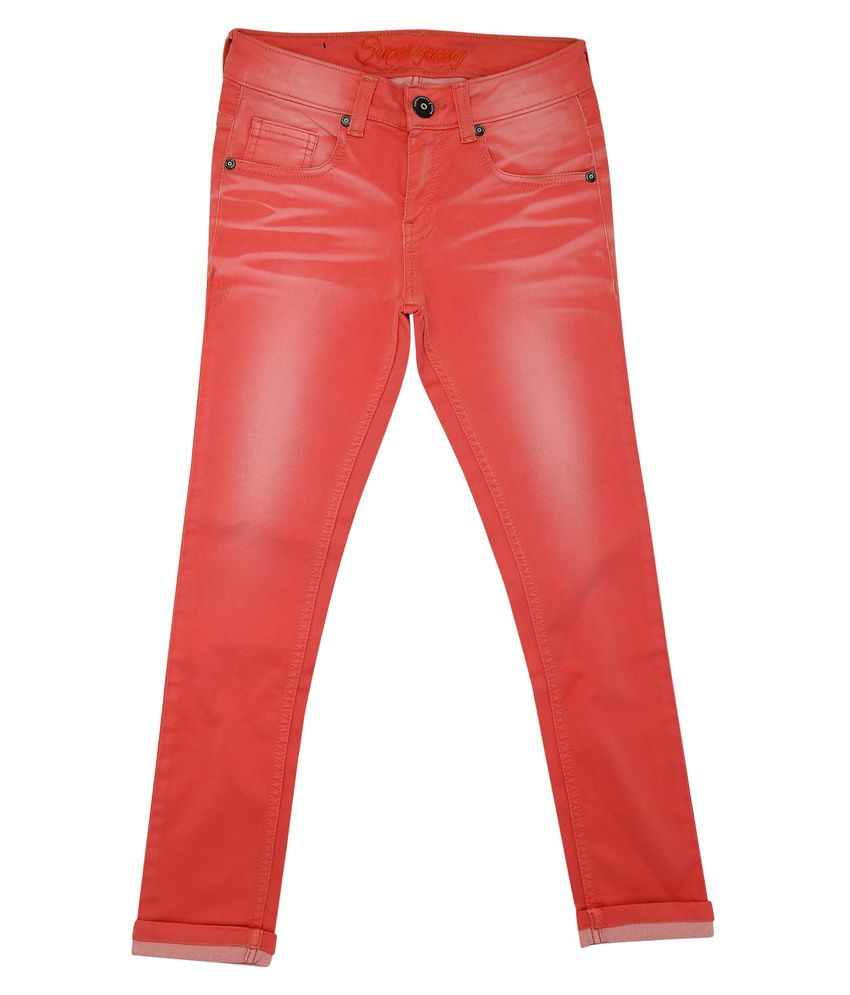 Superyoung Pink Od Denim Pant For Girls