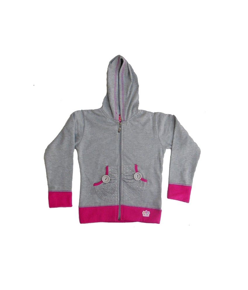 Sweet Angel Full Sleeves Grey Color Hooded Sweat Shirts For Kids