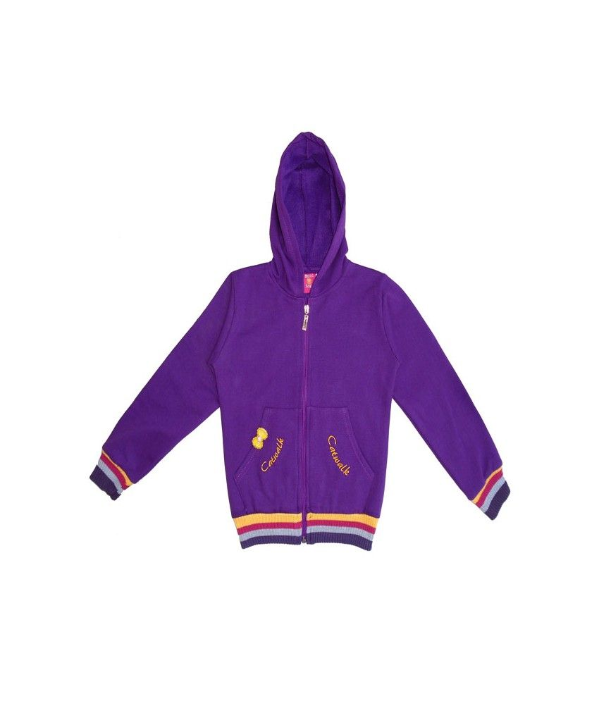 Sweet Angel Full Sleeves Purple Color Hooded Sweat Shirts For Kids