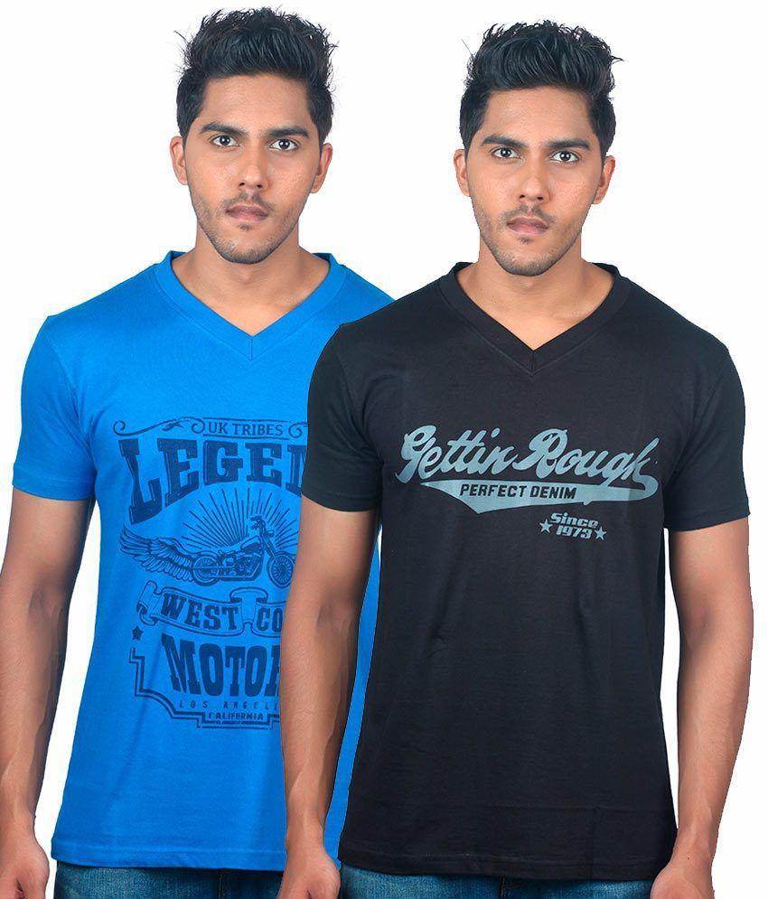Uk Tribes Black-blue Pack Of 2 V-neck T-shirts