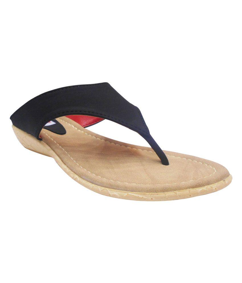 Zedds Black Low Heel Open Toe Women Footwear