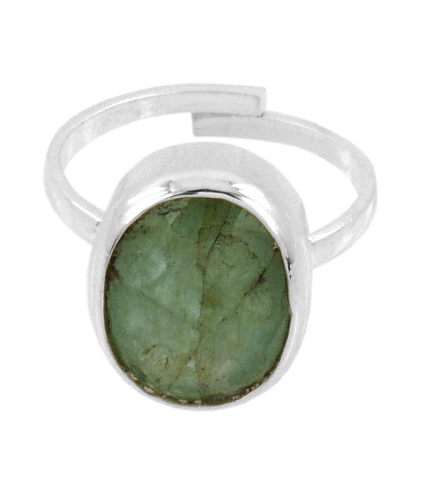 Barishh Oval Cut Emerald Gemstone Adjustable Ring 4.25 Ratti With Silver