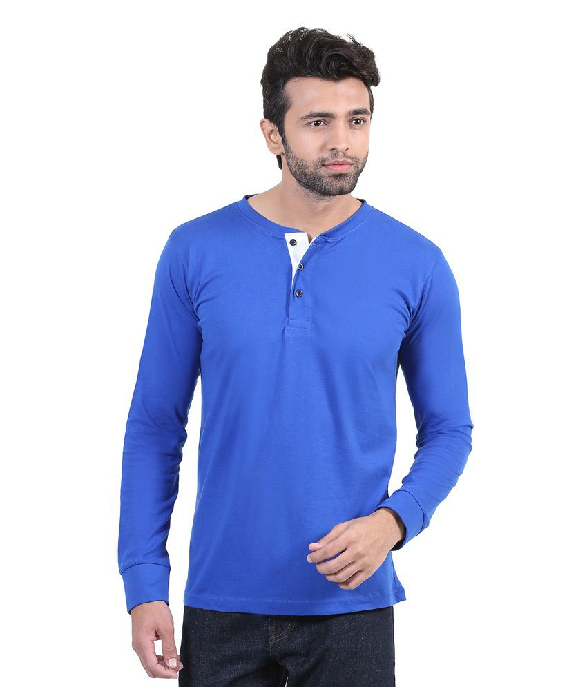 Mrdnk Blue Cotton Full Henley Neck T-shirt For Men