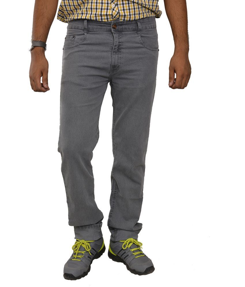 Studio Nexx Gray Cotton Regular Fit Men's Jeans
