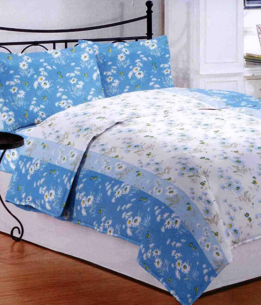 High Quality Bombay Dyeing Florentine Blue Floral Cotton Double Bed Sheet With 2 Pillow  Covers ...