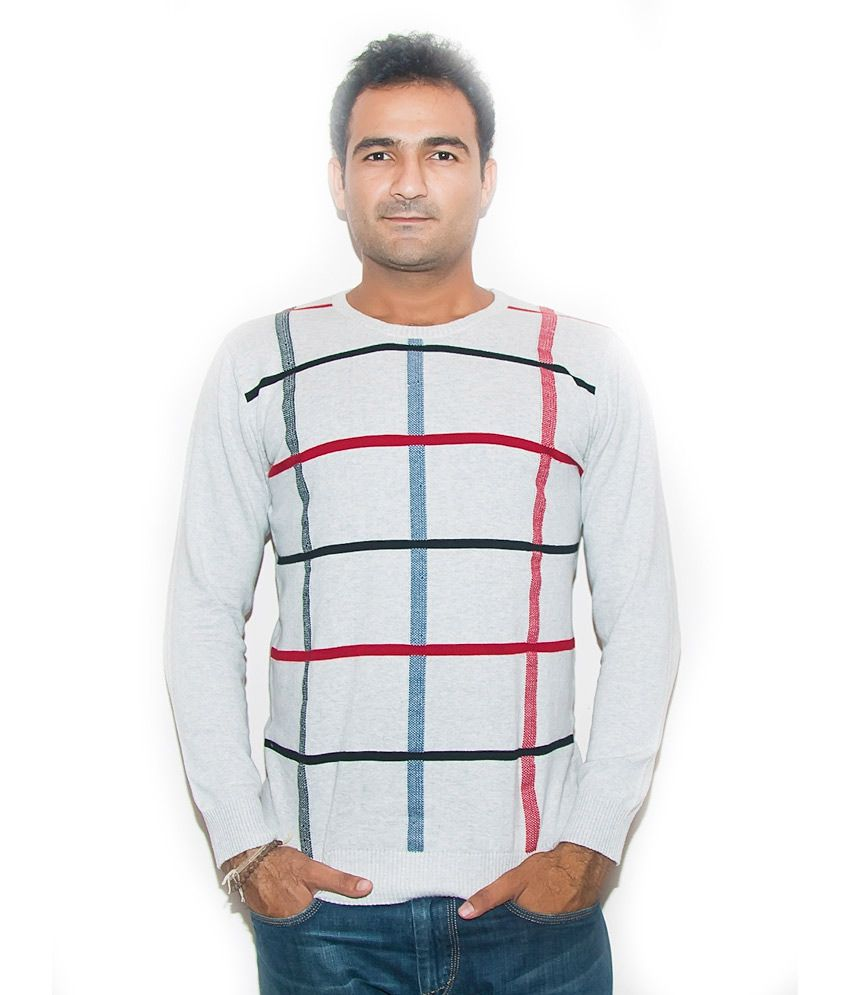 Kreadiots Gray Cotton Blend Stripers Round Full Sleeves T-Shirt