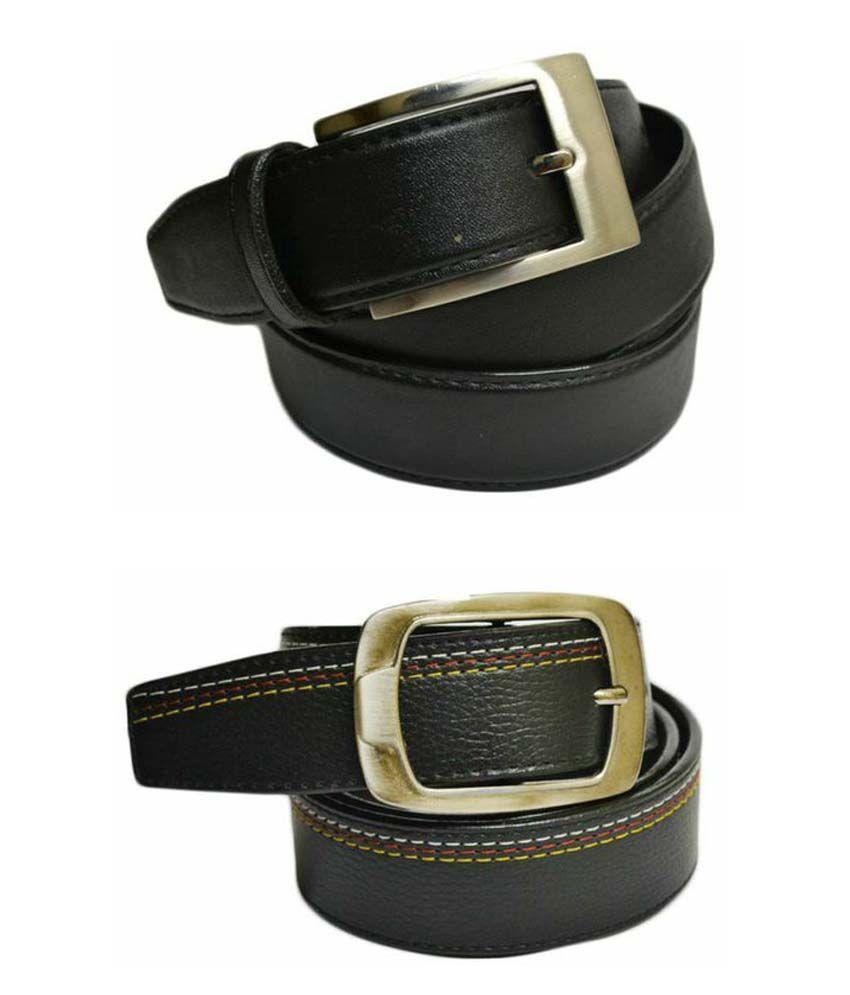 Skyways Black Formal Single Belt ForMen (Pack of 2)