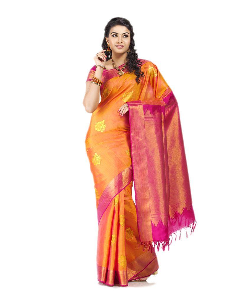 f7b59e2ba0f01d Thara Pink and Orange Kanchipuram Silk Saree with Blouse Piece - Buy Thara  Pink and Orange Kanchipuram Silk Saree with Blouse Piece Online at Low Price  ...