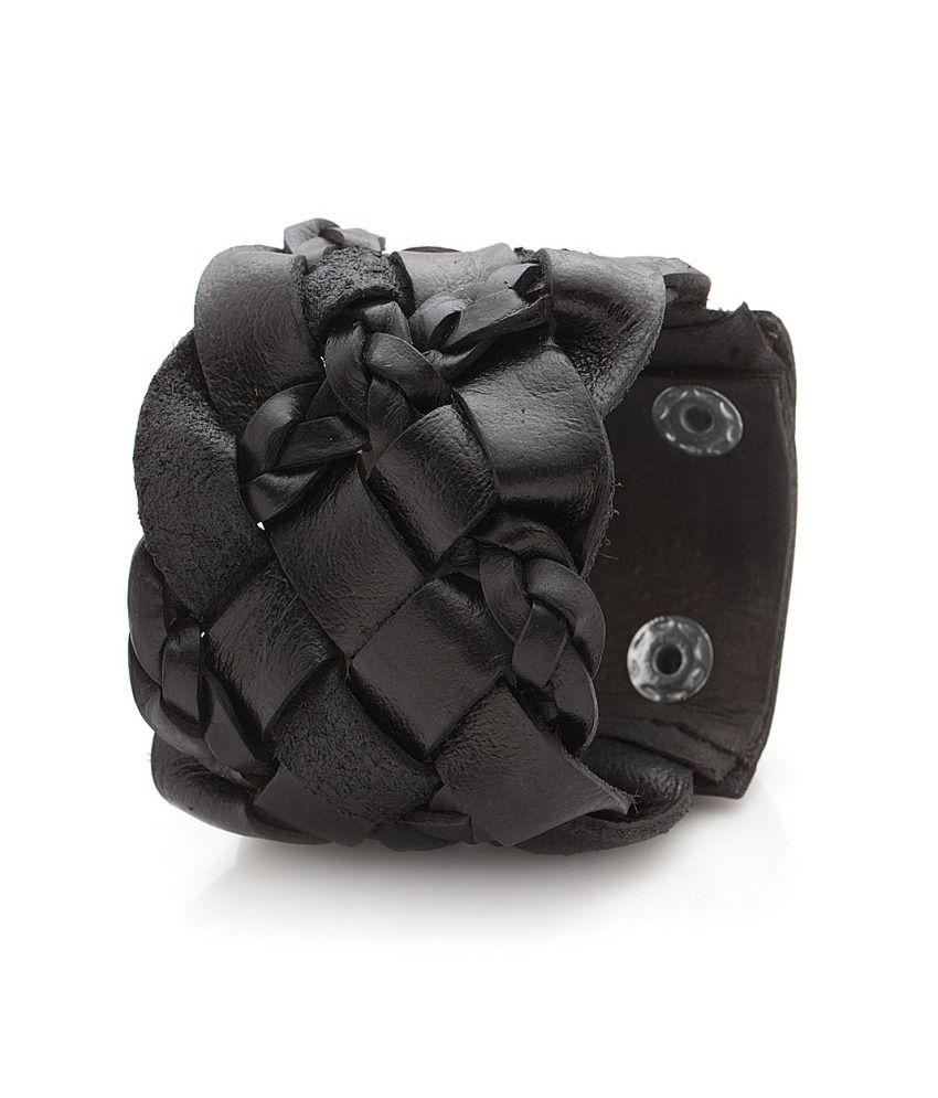 Voylla Black Braided Mens Leather Band