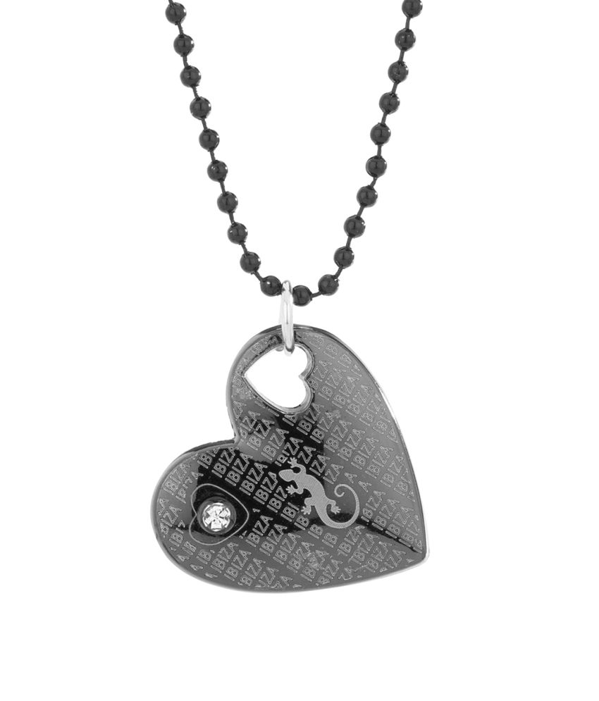 Voylla Cz Adorned Exclusive Heart Design Pendant With Black Beads Chain