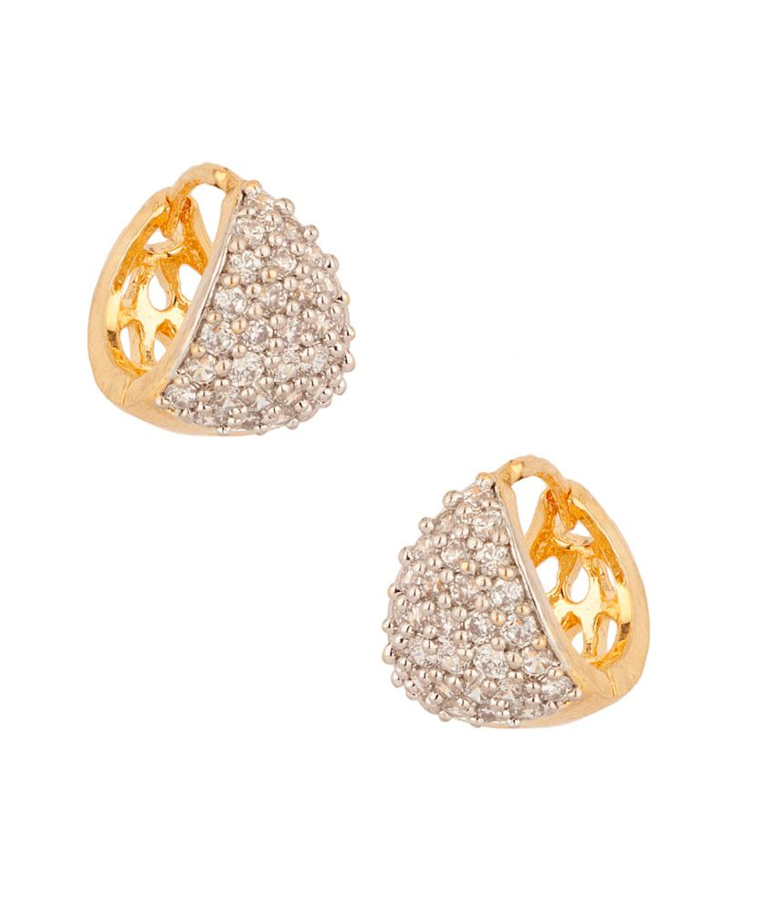 Voylla Pair Of Adorable Cz Studded Huggies