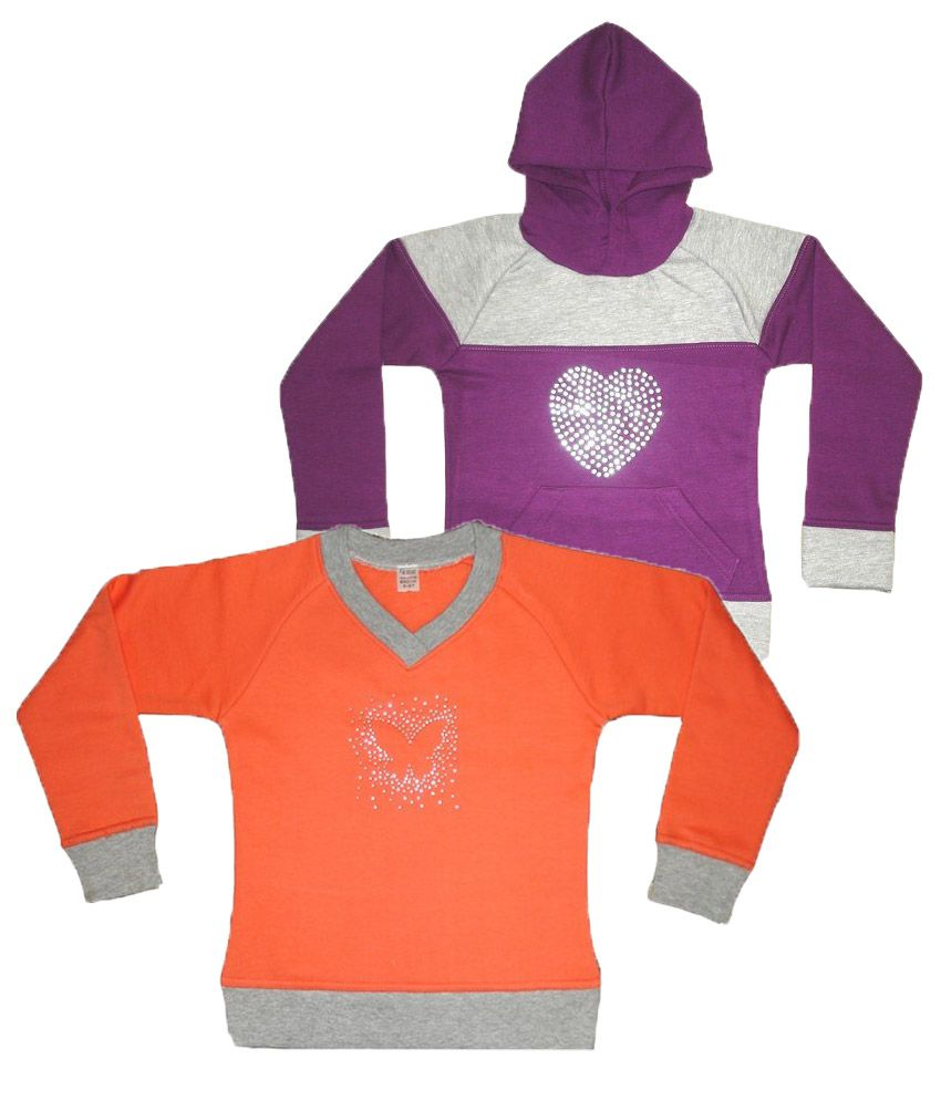 Goodway Coral & Purple Color Pack of 2 Pull over & Hooded Sweatshirt For Kids