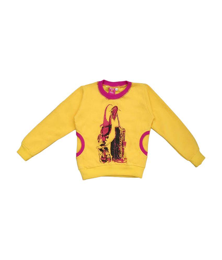 Sweet Angel Full Sleeves Beautiful Yellow Sweat Shirt