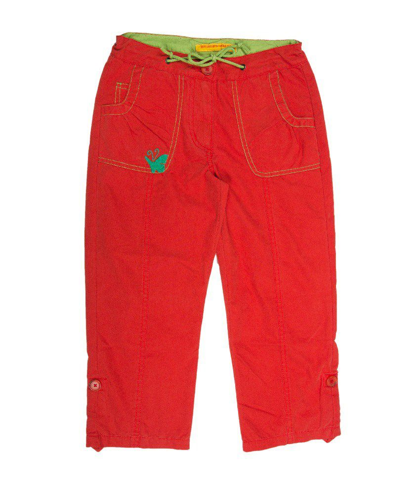 UFO Orange Color Solid Capri For Kids