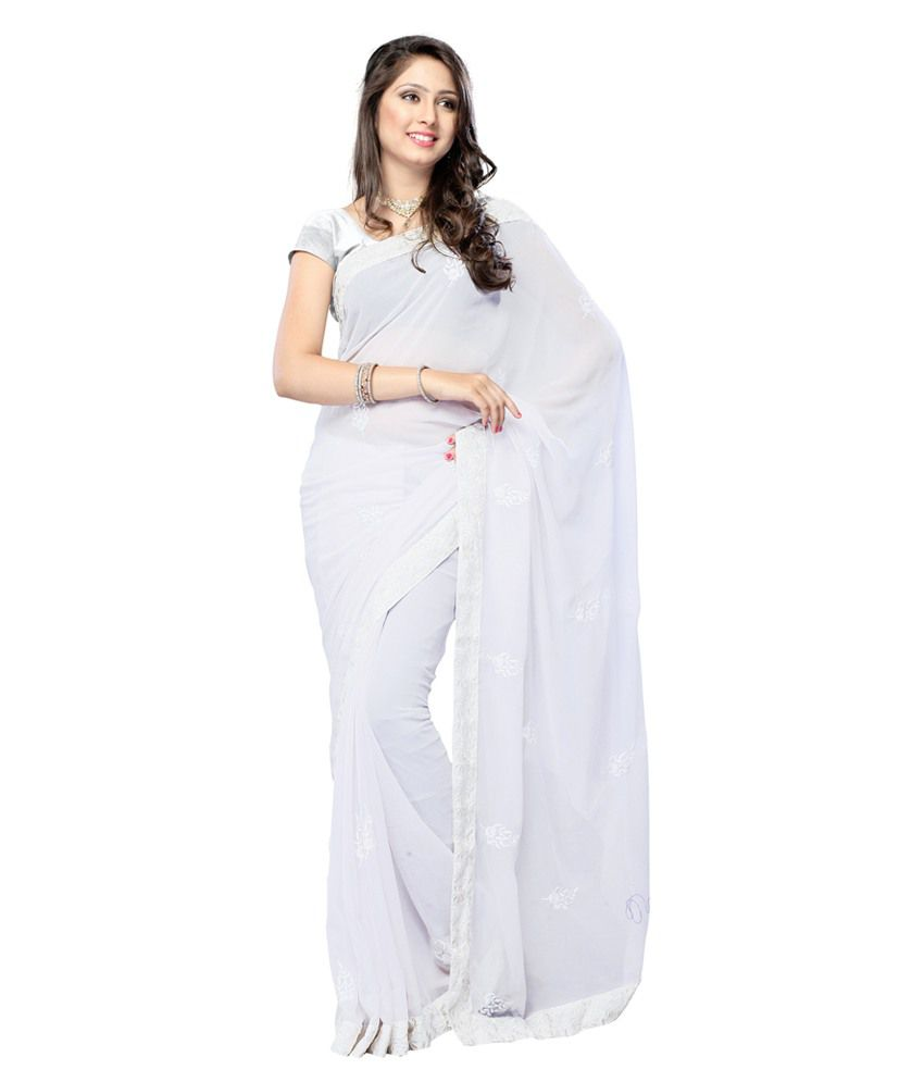 Royal N Rich White Faux Chiffon Saree