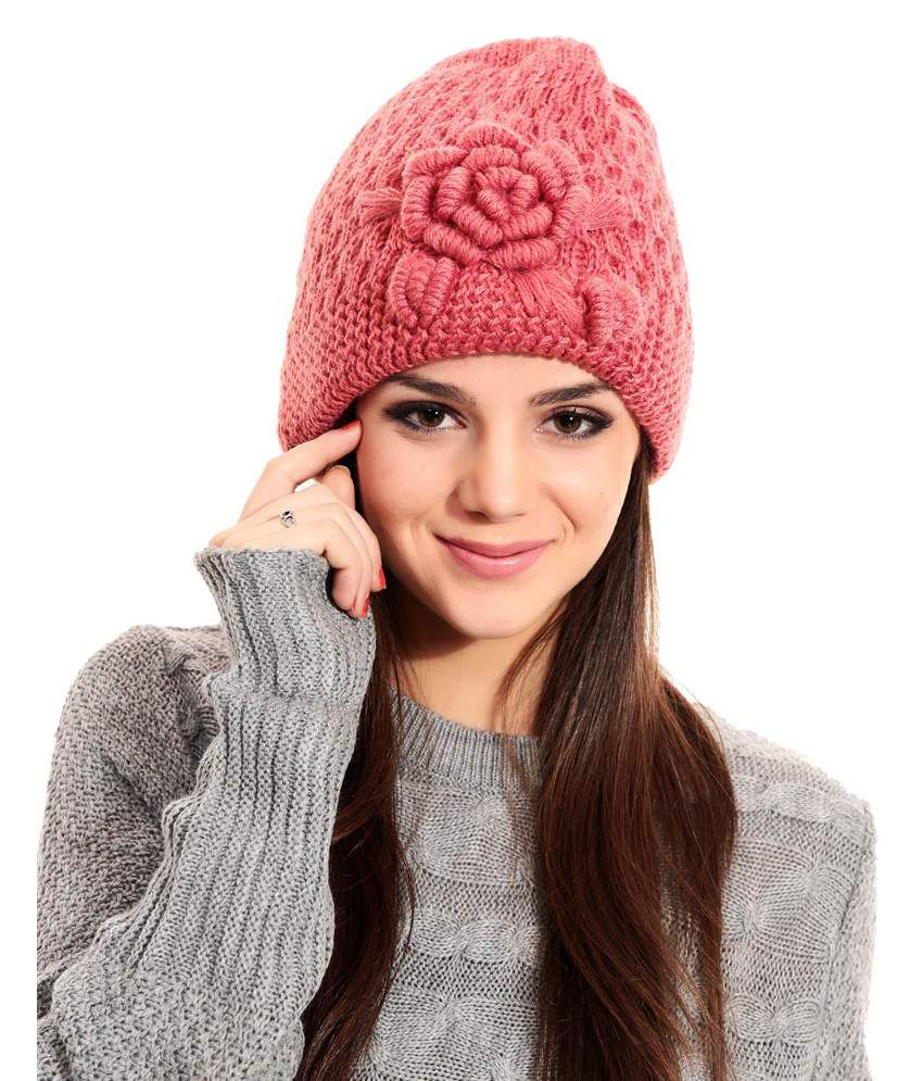 Tab91 Pink Woollen Single Casual Winter Skull Cap  Buy Online at Low Price  in India - Snapdeal 5afdb21b806