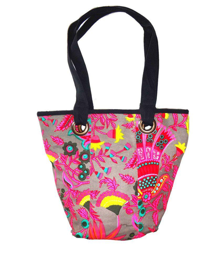 Craftshub Classic Print Canvas Shopping Bag For Women