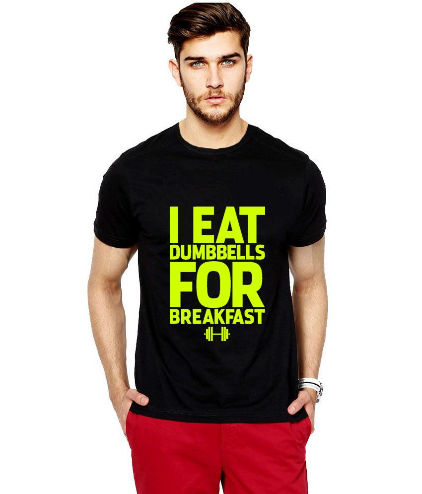 Ilyk Dumbbells Is My Breakfast Men Black Fluorescent Yellow Printed T-shirt