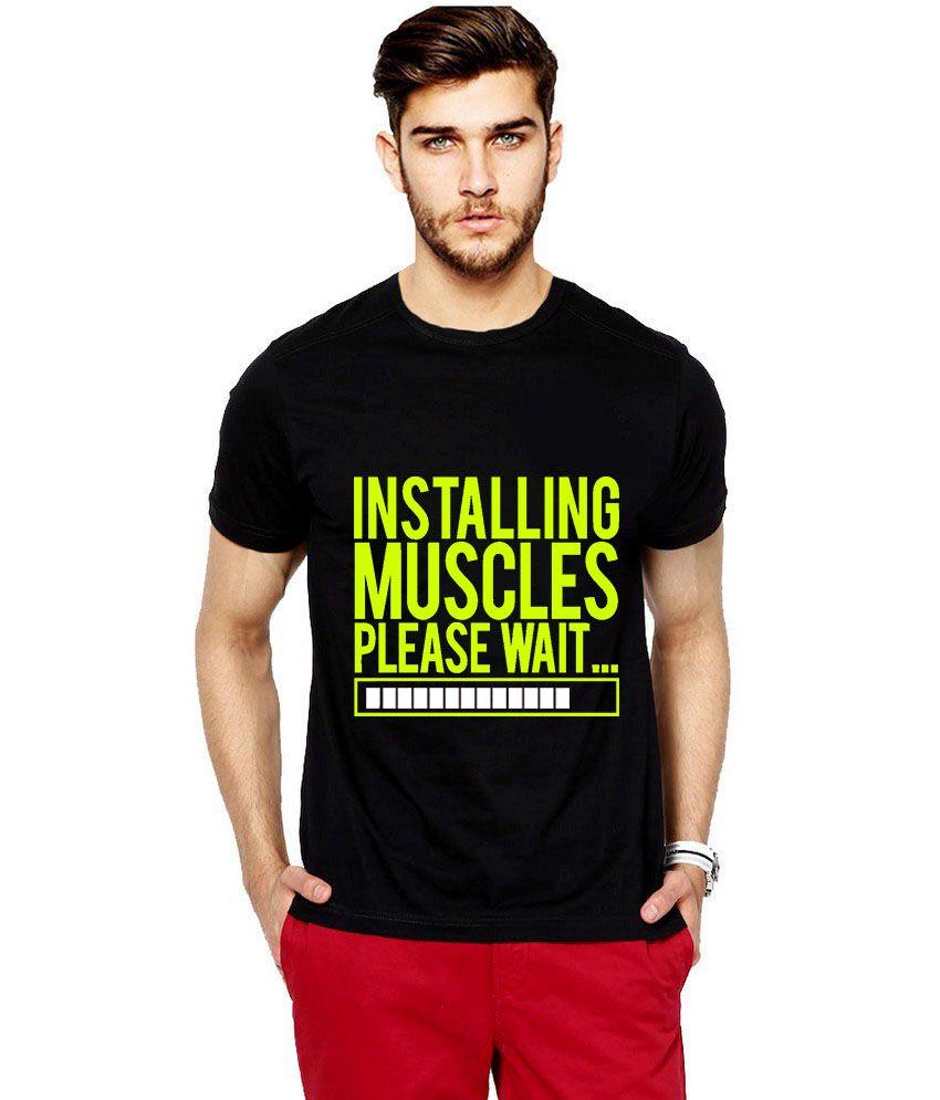 Ilyk Installing Muscles Men Black Fluorescent Yellow Printed T-shirt