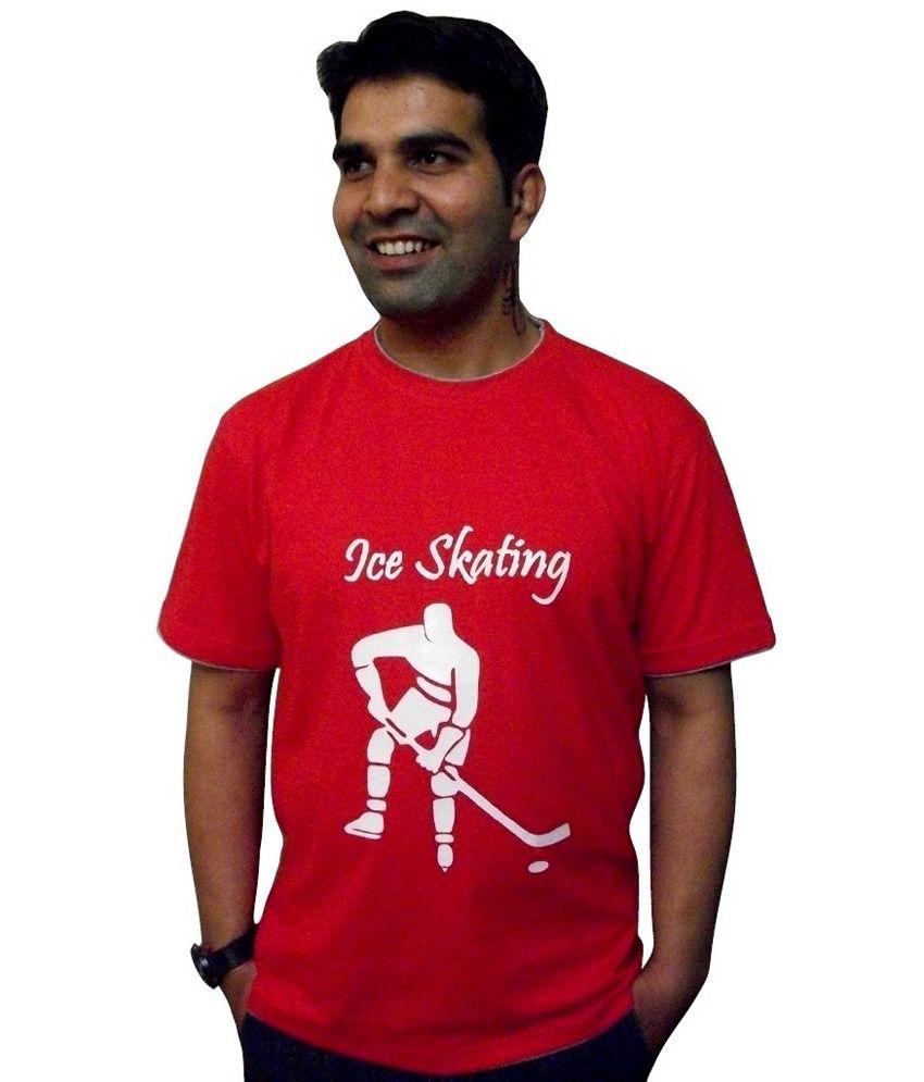 Schrotflinte International Red Printed Cotton Half Sleeves T-shirt