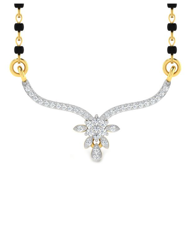 Sparkles Enticing Diamond Mangalsutra With Gold Chain And Black Beads
